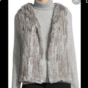 Love Token Gray Silver Genuine Fur Vest knit top